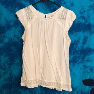 Cute lace, cap sleeve blouse.